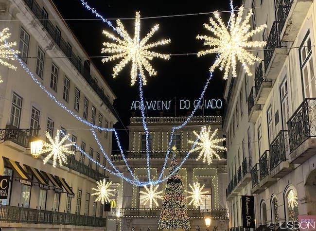 Christmas decorations on Rua Garrett, Lisbon