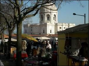 Lisbon's National Pantheon seen from the Feira da Ladra flea market