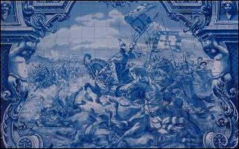 Historical scene in an azulejo panel