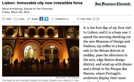 Lisbon in the San Francisco Chronicle