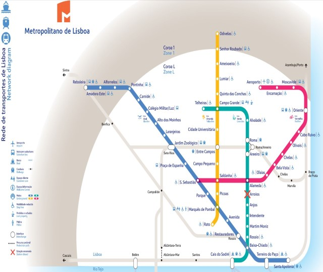 Map Of Lisbon Metro Portugal - Portugal map metro