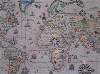 THE AGE OF DISCOVERY - A map showing the Portuguese discoveries at the Maritime Museum in Lisbon