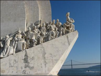 Portuguese explorers on the Discoveries Monument in Lisbon