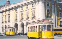 Trams passing by Comercio Square