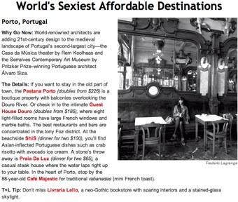 Porto article in Travel & Leisure Magazine