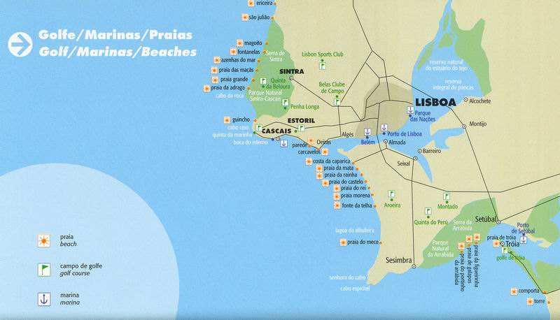 Map Of Golf Courses And Beaches Near Lisbon - Portugal golf map